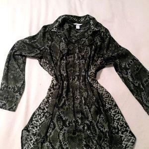 Snake print satin short dress